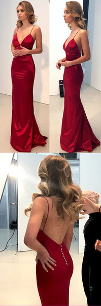Sexy V-Neck Long Prom Dresses Spaghetti Straps Evening Dresses Backless Formal Dresses,HS843