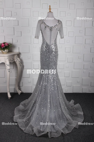 Silver Beaded Long Prom Dresses Mermaid Evening Dresses Half Sleeve Formal Dresses with See Through Back