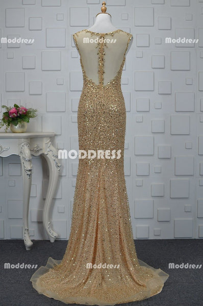 Silver Gold Charming Beaded Long Prom Dresses Mermaid Evening Dresses Sleeveless Formal Dresses