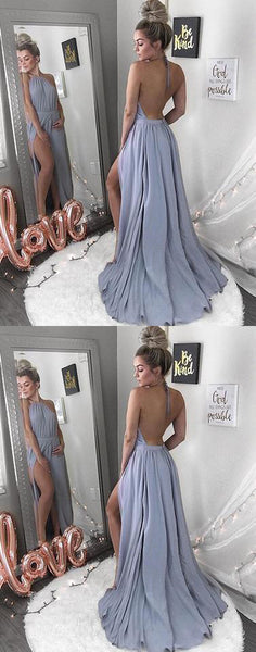 Simple A line backless long prom dress, formal dress