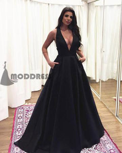 Simple Deep V-Neck Long Prom Dresses A-Line Evening Dresses Black Formal Dresses with Bowknot,HS712