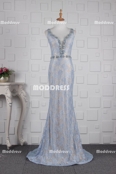 Simple Lace Long Prom Dresses V-Neck Evening Dresses Mermaid Backless Formal Dresses