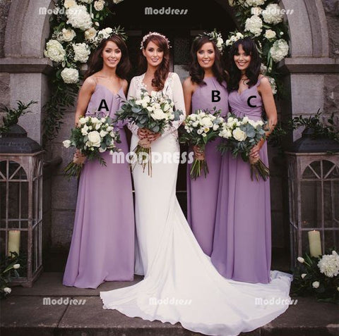 Simple Long Bridesmaid Dresses Chiffon A-Line Bridesmaid Dresses