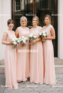 Simple Long Bridesmaid Dresses Pink Prom Dresses A-Line Evening Formal Dresses