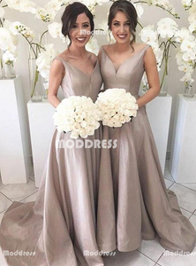 Simple Long Bridesmaid Dresses V-Neck Bridesmaid Dresses A-Line Bridesmaid Dresses