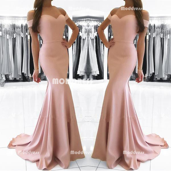 Simple Mermaid Long Prom Dresses Off the Shoulder Evening Dresses Sweetheart Formal Dresses