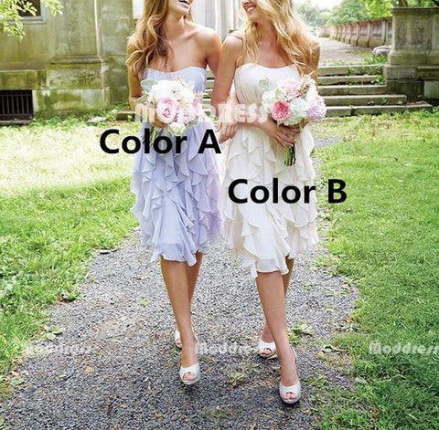 Strapless Bridesmaid Dresses Chiffon Short Bridesmaid Dresses
