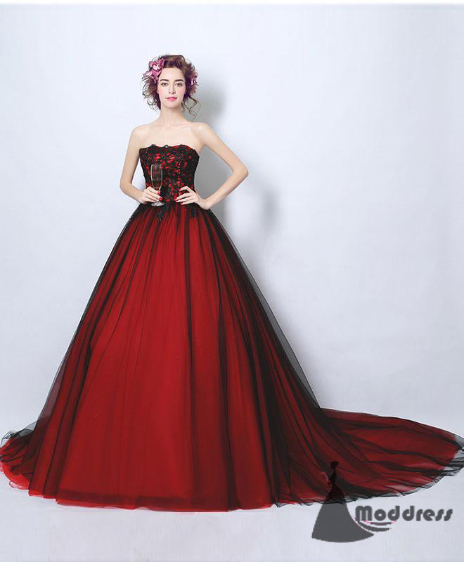 Strapless Long Prom Dress Tulle Evening Dress Formal Dress with trains.,HS533