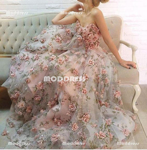 Strapless Long Prom Dresses 3D Floral Flowers Evening Dresses A-Line Formal Gowns,HS932