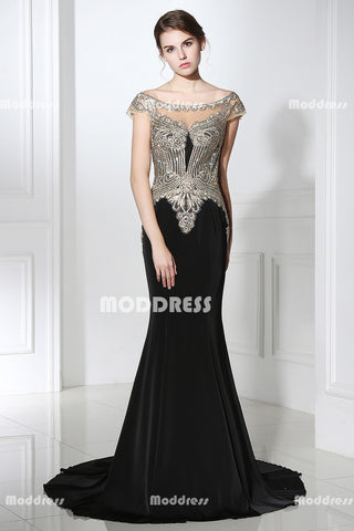 Stunning Beaded Long Prom Dresses Mermaid Evening Dresses Applique Off the Shoulder Formal Dresses