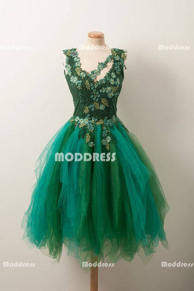 Stylish Applique Short Homecoming Dresses V-Neck Short Homecoming Dresses A-Line Short Prom Dresses