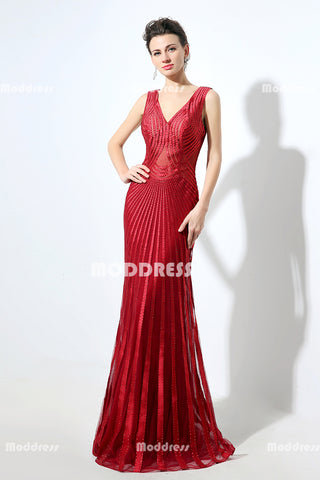 Stylish Beaded Long Prom Dresses V-Neck Evening Dresses Mermaid Formal Dresses