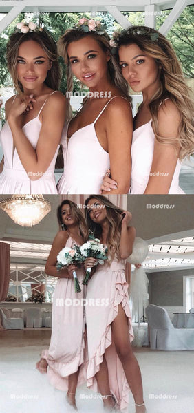 Stylish Chiffon Long Bridesmaid Dresses Spaghetti Straps Bridesmaid Dresses