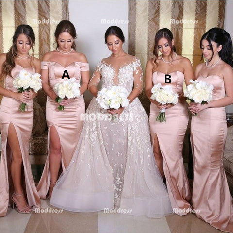 Stylish Long Bridesmaid Dresses Mermaid Bridesmaid Dresses with High Slit