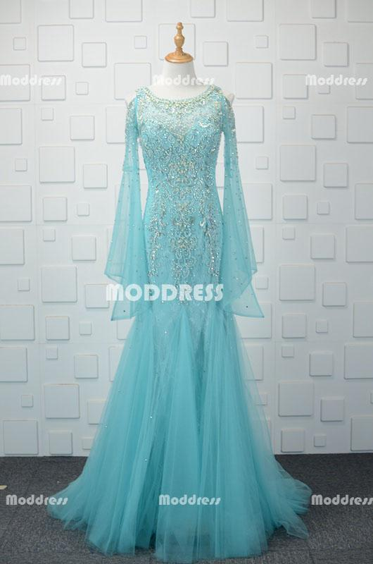 Stylish Long Sleeve Long Prom Dresses Mermaid Evening Dresses Tulle Beaded Formal Dresses