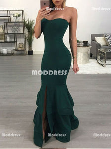 Stylish Mermaid Long Prom Dresses Strapless Evening Dresses Simple Formal Dresses with Slit.