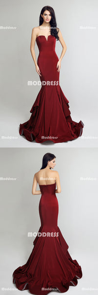 Stylish Mermaid Long Prom Dresses Strapless Evening Dresses Sleeveless Formal Dresses
