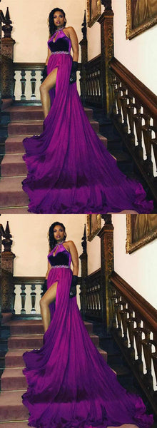Stylish Purple Long Prom Dresses Beading Evening Dresses Trains Formal Dresses with High Slit,HS756