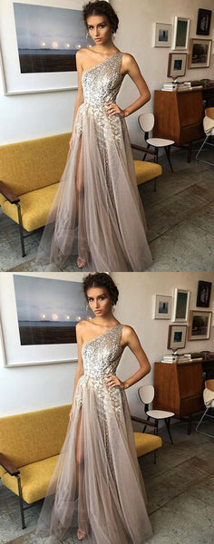 Stylish one shoulder tulle sequins long prom dress, high slit evening dress sleeveless prom gown cocktail dress