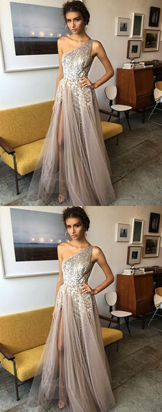 Stylish prom dress one shoulder tulle sequins evening dress crystal sleeveless cocktail dress with high split