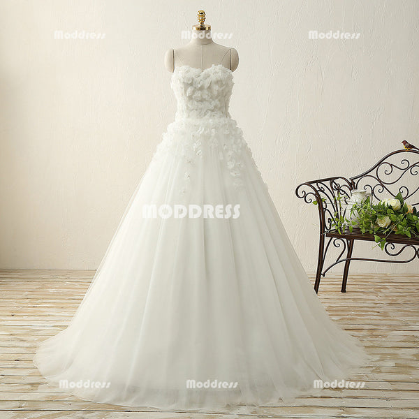 Sweetheart Beaded Long Prom Dresses Applique White Evening Dresses A-Line Formal Dresses,HS814