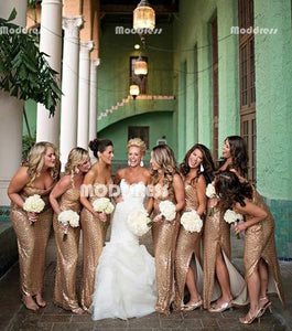 a79ab76fd94 Sweetheart Long Bridesmaid Dresses Sequins Bridesmaid Dresses with Side Slit