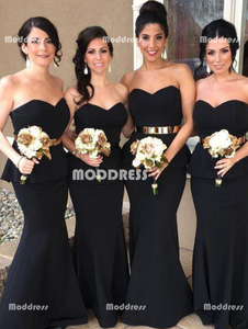 Sweetheart Long Bridesmaid Dresses Strapless Evening Dresses Mermaid Black Formal Dresses