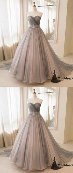Sweetheart Long Prom Dress Grey Tulle A-Line Evening Dress,HS415