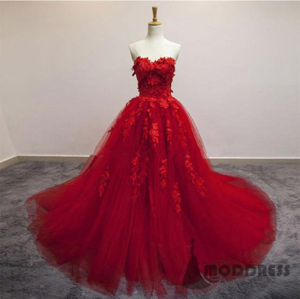 Sweetheart Long Prom Dresses 3D Floral Applique Tulle Evening Formal Dresses,HS700