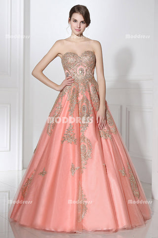 Sweetheart Long Prom Dresses Applique Evening Dresses Sleeveless Ball Gowns Formal Dresses,LX359