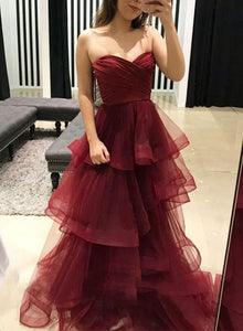 Sweetheart Long Prom Dresses Backless Evening Dresses A-Line Formal Dresses,HS757