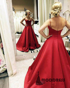 Sweetheart Long Prom Dresses Spaghetti Straps Backless A-Line Evening Formal Dresses,HS714