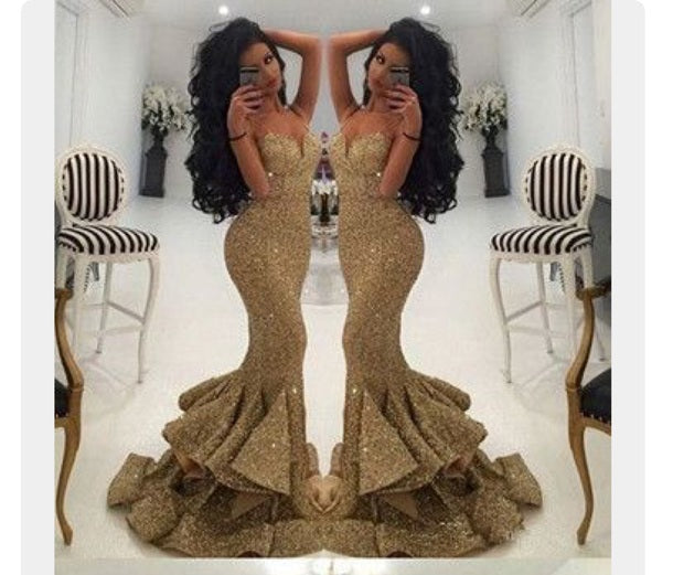 Sweetheart Sequins Long Prom Dresses Sequins Mermaid Evening Dress Gold Formal Dress,HS842