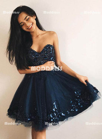Sweetheart Short Homecoming Dresses Beaded Prom Dresses Knee length Evening Formal Dresses,HS832