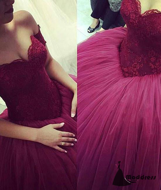 Sweetheart Wedding Dress Lace Ball Bridal Gowns Tulle Strapless Long Prom Dress,HS470