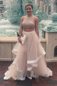 two pieces prom dress, long prom dress, A-line prom dress, gorgeous prom dress, charming evening gown, BD45