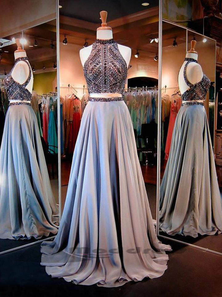 Two Piece Prom Dresses Sexy High Neck Long Rhinestone Evening Dress,HS332