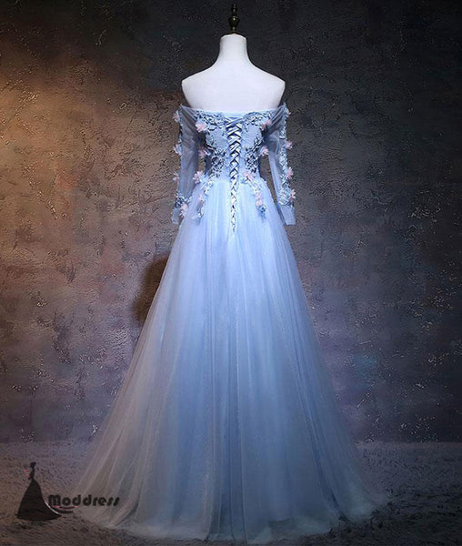 Unique Flowers Long Prom Dress Blue Tulle Off the Shoulder Long Sleeve A-Line Evening Dress,HS401