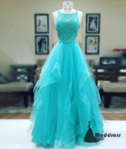 Unique Lace Long Prom Dress Sleeveless A-Line Evening Dress,HS429