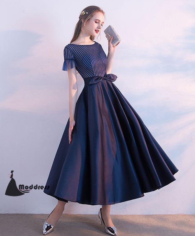 83fdfe9fc61 ... Unique Tee Length Prom Dress A-Line Homecoming Dress Short Sleeve  Formal Dress