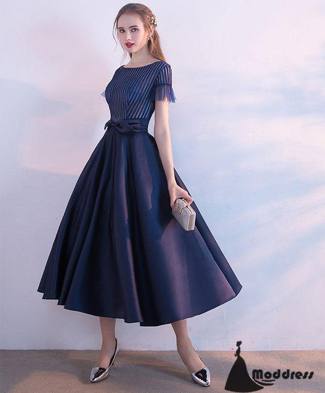 2afebbd3d93 Unique Tee Length Prom Dress A-Line Homecoming Dress Short Sleeve Formal  Dress