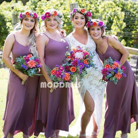 V-Neck Long Bridesmaid Dresses A-Line Bridesmaid Dresses Spaghetti Straps Bridesmaid Dresses
