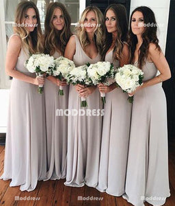 V-Neck Long Bridesmaid Dresses Chiffon Bridesmaid Dresses