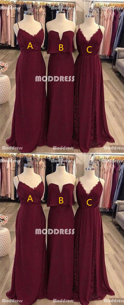V-Neck Long Bridesmaid Dresses Chiffon Evening Dresses Spaghetti Straps Bridesmaid Dresses A-Line Bridesmaid Dresses