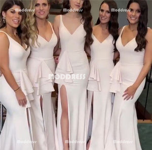 V-Neck Long Bridesmaid Dresses Mermaid Bridesmaid Dresses with High Slit