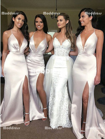 V-Neck Long Bridesmaid Dresses Mermaid Cross Back Bridesmaid Dresses with High Slit