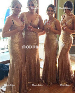 V-Neck Long Bridesmaid Dresses Sequins Bridesmaid Dresses Mermaid Sleeveless Bridesmaid Dresses,HS921