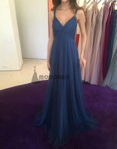 V-Neck Long Bridesmaid Dresses Tulle A-Line Bridesmaid Dresses,HS717