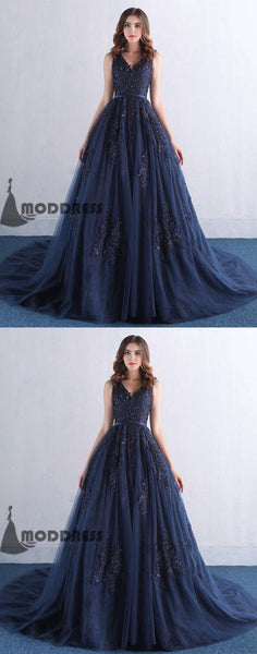 V-Neck Long Prom Dress Applique Evening Dress A-Line Sleeveless Formal Dresses