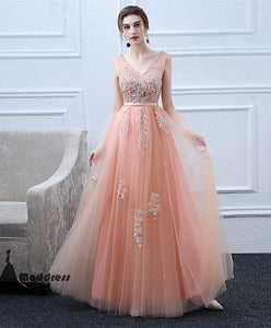 V-Neck Long Prom Dress Applique Evening Dress Tulle Formal Dress,HS506